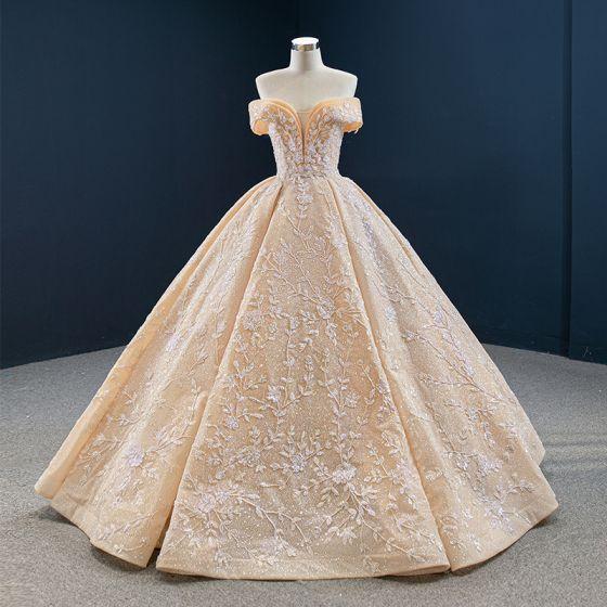 Luksusowe Szampan ślubna Suknie Ślubne 2020 Suknia Balowa Przy Ramieniu Kótkie Rękawy Bez Pleców Aplikacje Frezowanie Cekinami Tiulowe Trenem Sweep Wzburzyć