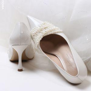 Elegant Hvide Perle Brudesko 2020 8 cm Stiletter Spidse Tå Bryllup Pumps