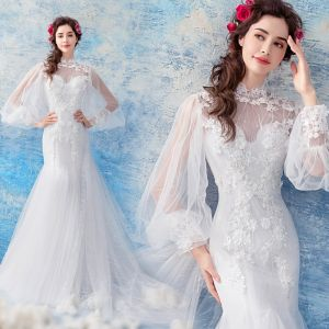 Affordable White See-through Wedding Dresses 2019 Trumpet / Mermaid High Neck Puffy Long Sleeve Backless Appliques Lace Pearl Chapel Train Ruffle