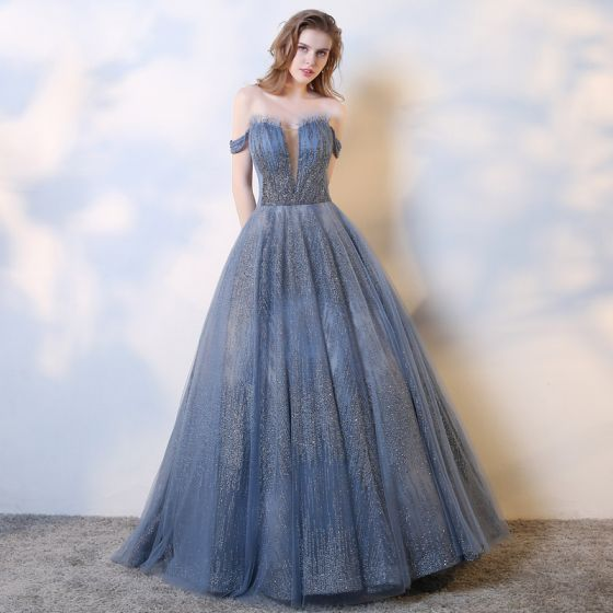 Charming Ocean Blue Evening Dresses  2019 A-Line / Princess Off-The-Shoulder Beading Sequins Sleeveless Backless Floor-Length / Long Formal Dresses