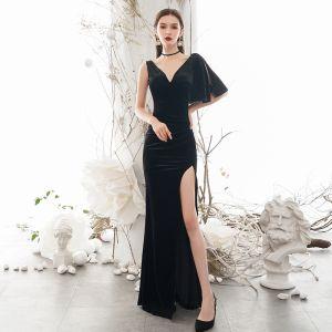 Sexy Black Evening Dresses  2020 Trumpet / Mermaid Deep V-Neck 1/2 Sleeves Split Front Floor-Length / Long Backless Formal Dresses