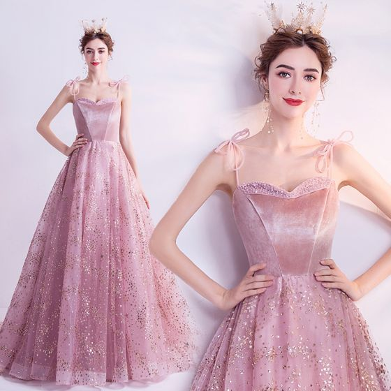 Chic / Beautiful Blushing Pink Prom Dresses 2021 A-Line / Princess Spaghetti Straps Sleeveless Sequins Beading Glitter Tulle Sweep Train Ruffle Backless Formal Dresses
