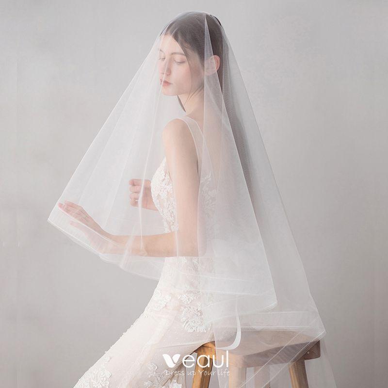 Classic Elegant White Wedding Short Tulle Wedding Veils 2019