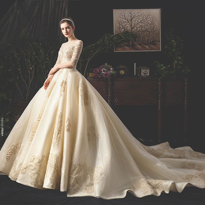 Luxury / Gorgeous Champagne See-through Wedding Dresses 2019 A-Line / Princess Square Neckline 1/2 Sleeves Backless Appliques Lace Sequins Beading Glitter Tulle Cathedral Train Ruffle