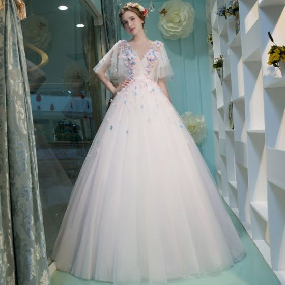 Amazing / Unique Office Wedding Dresses 2017 Flower Rhinestone Backless 1/2 Sleeves Scoop Neck Floor-Length / Long White Ball Gown
