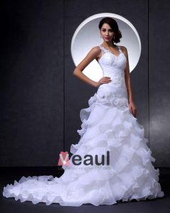 Vestido De Boda Nupcial Elegante Del Organza De Encaje De Flores Con Cuello En V Rebordear Catedral De Tren De La Sirena