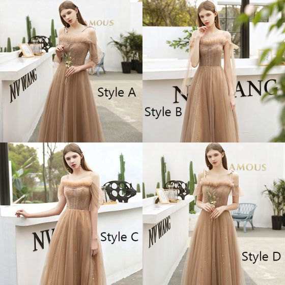 Affordable Champagne Bridesmaid Dresses 2020 A-Line / Princess Backless Sequins Beading Floor-Length / Long Ruffle