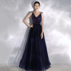 Charming Navy Blue Prom Dresses 2020 A-Line / Princess Beading Sequins Spaghetti Straps Bow Sleeveless Floor-Length / Long Formal Dresses