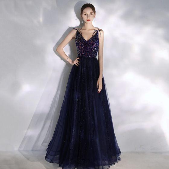 Charming Navy Blue Prom Dresses 2020 A-Line / Princess Beading Sequins Spaghetti Straps Bow Sleeveless Floor-Length / Long Formal Dresses