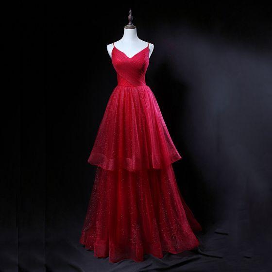 Bling Bling Burgundy Prom Dresses 2018 A-Line   Princess Spaghetti Straps  Sleeveless Glitter Tulle Floor-Length ... cf454df87