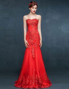 2015 Rot-nixe-spitze Bestickte Abendkleid Des Formalen Kleides