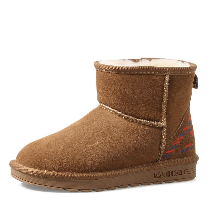 Schlicht Stiefel Damen 2017 Khaki Leder Ankle Boots Wildleder Schleife Freizeit Winter Flache Schneestiefel