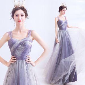 Edles Lavendel Ballkleider 2020 A Linie Eckiger Ausschnitt Ärmellos Rückenfreies Lange Festliche Kleider
