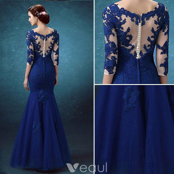 Belles Robes De Soirée Longue 2016 Applique De Dentelle Royale Tulle Bleu Robe De Ceremonie Dos Nu