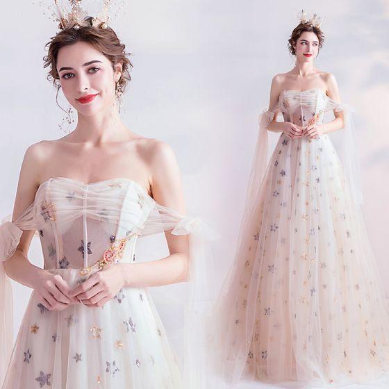 Mode Blanche Robe De Bal 2020 Princesse De l'épaule Perlage Perle Étoile Paillettes Sans Manches Dos Nu Chapel Train Robe De Ceremonie