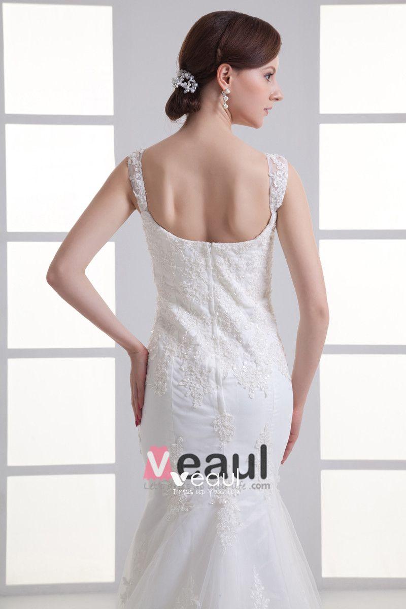 Tulle Ruffle Beading Shoulder Straps Court Train Mermaid Wedding Dress