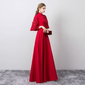 Chinese style Vintage / Retro Burgundy Evening Dresses  2019 A-Line / Princess High Neck 3D Lace Pearl Appliques Bell sleeves Floor-Length / Long Formal Dresses