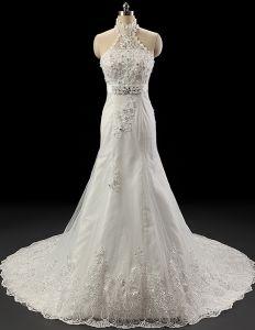 2015 Luxus Halfter Spitze Mit Perlen Hochzeitskleid Brautkleid-kristall
