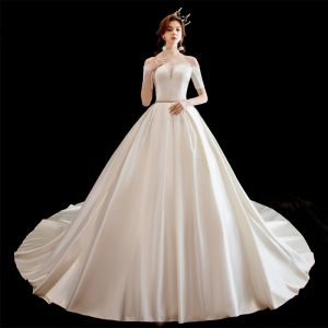 Chic / Beautiful Ivory Satin Wedding Dresses 2020 A-Line / Princess Off-The-Shoulder Short Sleeve Backless Beading Sash Chapel Train
