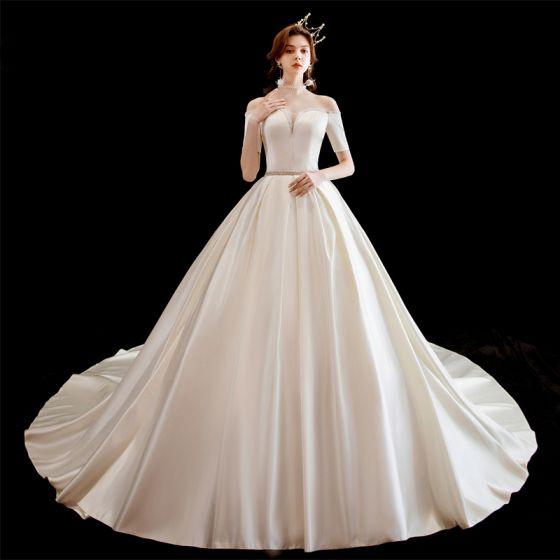 Chic / Beautiful Ivory Satin Wedding Dresses 2020 A-Line / Princess Off-The-Shoulder Short Sleeve Backless Beading Sash Chapel Train