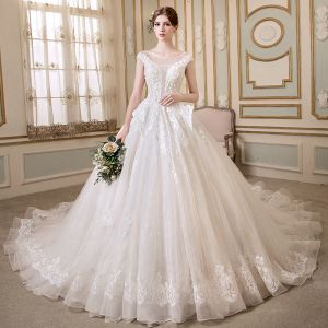 Elegant Ivory See-through Wedding Dresses 2018 A-Line / Princess Scoop Neck Cap Sleeves Backless Appliques Lace Pearl Crystal Beading Chapel Train Ruffle