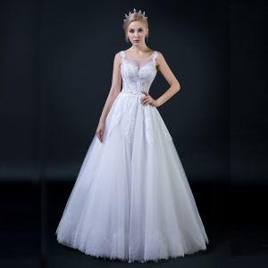 Affordable Ivory See-through Wedding Dresses 2018 A-Line / Princess Scoop Neck Sleeveless Backless Appliques Lace Beading Ruffle Floor-Length / Long