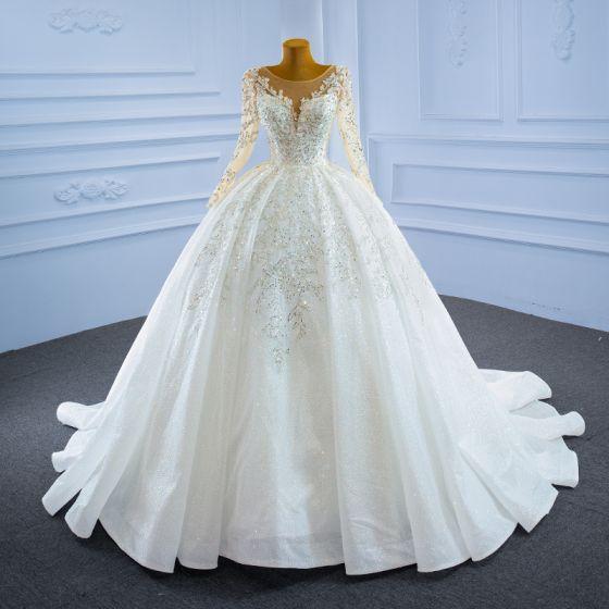 Lyx Elfenben Beading Kristall Bröllopsklänningar 2021 Balklänning Glittriga / Glitter Paljetter Urringning Långärmad Cathedral Train Bröllop