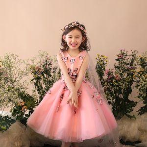 Schöne Kirche Kleider Für Hochzeit 2017 Mädchenkleider Rosa Ballkleid Wadenlang V-Ausschnitt Ärmellos Blumen Applikationen