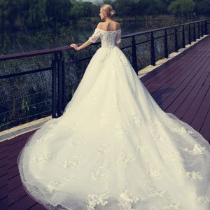 Chic / Beautiful Hall Wedding Dresses 2017 Sequins Lace Appliques Flower Pearl Backless 1/2 Sleeves Off-The-Shoulder Cathedral Train White Ball Gown