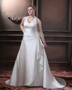 Satin Sicke Rüschen V-ausschnitt Gericht Große Größen Brautkleider Hochzeitskleid