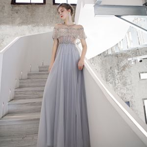 High-end Sky Blue See-through Dancing Prom Dresses 2020 A-Line / Princess Scoop Neck Short Sleeve Beading Sequins Sweep Train Ruffle Formal Dresses