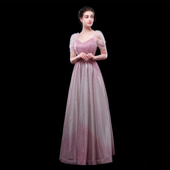 Charming Gradient-Color Candy Pink Evening Dresses  2019 A-Line / Princess V-Neck Glitter Polyester Short Sleeve Backless Floor-Length / Long Formal Dresses