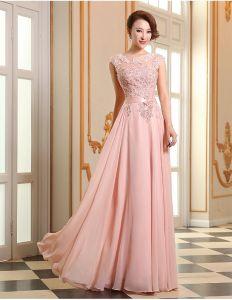 Eleganckie Sukienki Wizytowe Różowa Długie Sukienki Wieczorowe Z Szarfą