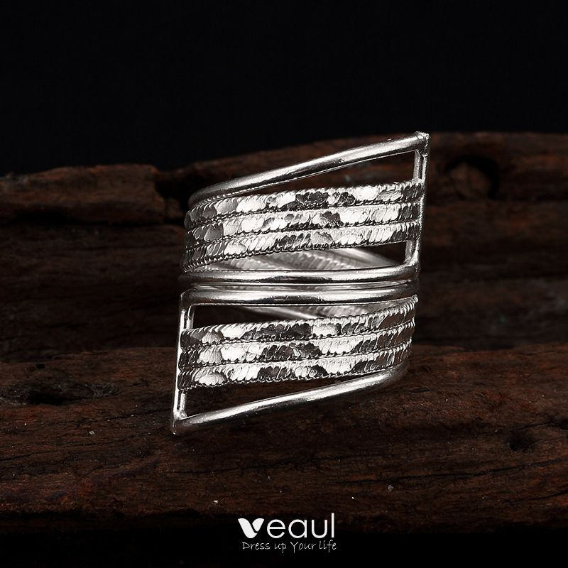 Modern / Fashion Silver Handmade  Solid Color Faith Band Ring Sterling Silver Rave Club Rings 2019 Accessories