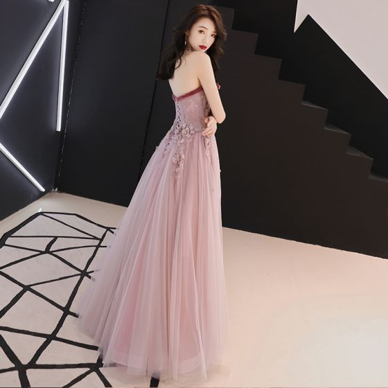 Elegant Blushing Pink Prom Dresses 2019 A-Line / Princess Bow Sweetheart Sleeveless Appliques Lace Flower Pearl Rhinestone Floor-Length / Long Ruffle Backless Formal Dresses