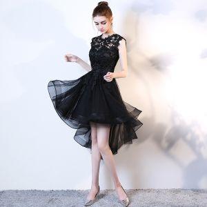 Chic / Belle Robe De Ceremonie 2017 Robe De Cocktail Noire Princesse Asymétrique Volants en Cascade Encolure Dégagée Sans Manches Appliques Fleur