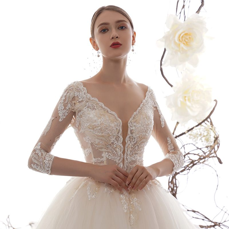 Illusion Champagne See-through Wedding Dresses 2019 A-Line / Princess Deep V-Neck 3/4 Sleeve Backless Appliques Lace Beading Cathedral Train Ruffle