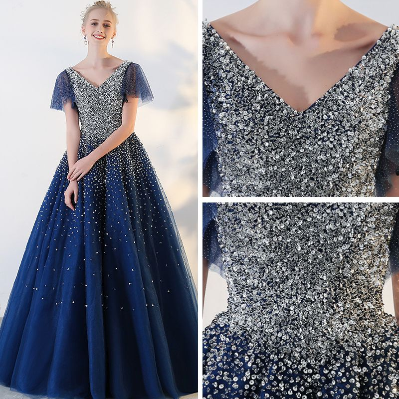 Sparkly Royal Blue Prom Dresses 2018 Tulle V-Neck Sequins Glitter Backless Beading Starry Sky Ball Gown Prom Formal Dresses