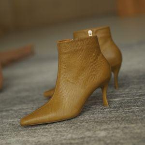 Sencillos Amarillo Ropa de calle Cuero Botas de mujer 2020 Tobillo 7 cm Stilettos / Tacones De Aguja Punta Estrecha Botas