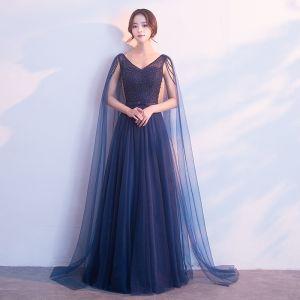 Chic / Belle Bleu Marine Robe De Soirée 2018 Princesse Perle Noeud V-Cou Dos Nu Sans Manches Watteau Train Longue Robe De Ceremonie