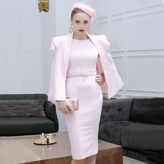 2 Kawałek Rumieniąc Różowy Sukienki Wieczorowe 2019 Wycięciem Bez Rękawów Szarfa Długość do kolan Sukienki Wizytowe