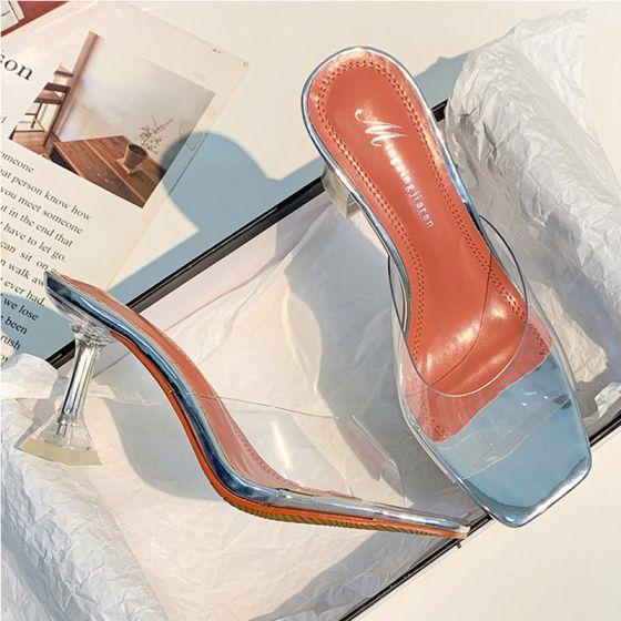 Transparent Sommer Sølv Gateklær Sandaler Dame 2020 9 cm Stiletthæler Peep Toe Sandaler