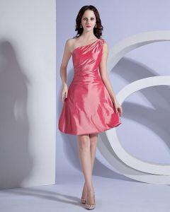 Elegancka Jedno Ramie Z Tafty Tanie Sukienki Koktajlowe Sukienki Wizytowe