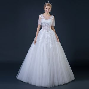Affordable White See-through Wedding Dresses With Shawl 2018 Ball Gown Scoop Neck Backless Appliques Pierced Lace Beading Ruffle Floor-Length / Long