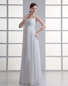 Chiffon Ruffle Beading Shoulder Straps Floor Length Pleated Empire Wedding Dress