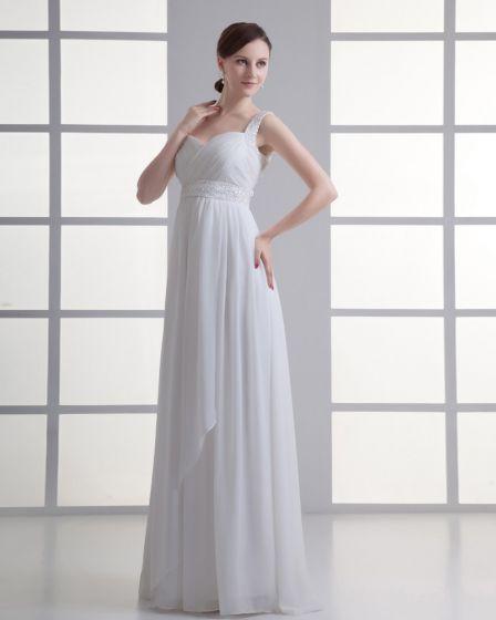 Chiffon Ruffle Beading Shoulder Straps Floor Length Pleated Empire Wedding Dress