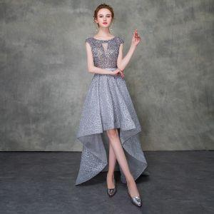 Iluzja Szary Sukienki Koktajlowe 2018 Princessa Wycięciem Bez Rękawów Szarfa Frezowanie Asymetryczny Wzburzyć Sukienki Wizytowe