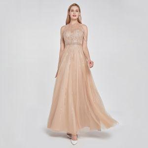 Haut de Gamme Kaki Transparentes Dansant Robe De Bal 2020 Princesse Encolure Dégagée Sans Manches Perlage Paillettes Longue Volants Robe De Ceremonie