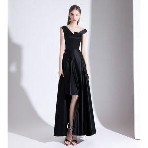 Unique Noire Robe De Soirée 2020 Princesse V-Cou Sans Manches Dos Nu Asymétrique Robe De Ceremonie