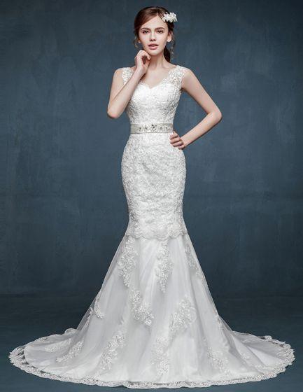 4a9b78314d1c Bruden Dubbla Axel V-halsringar Fishtail Brudklänning Bröllopsklänningar  Var Tunn Slim Modeller